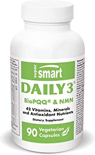Supersmart - Daily 3 - Three Daily Multivitamin for Women & Men - with BioPQQ & NMN | 42 Ingredients & Antioxidant Nutrien...