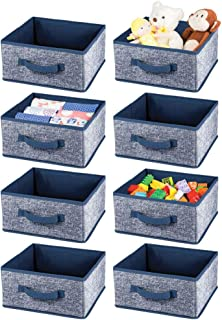 mDesign Soft Fabric Closet Storage Organizer Bin Box - Front Handle, for Cube Furniture Shelving Units Bedroom, Nursery, T...