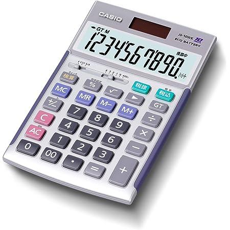 カシオ 本格実務電卓 10桁 検算機能 グリーン購入法適合 ジャストタイプ シルバー JS-10WK