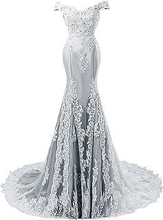 JAEDEN Ballkleider Abendkleider Meerjungfrau Lang Hochzeitskleider Schulterfrei Satin mit Schleppe