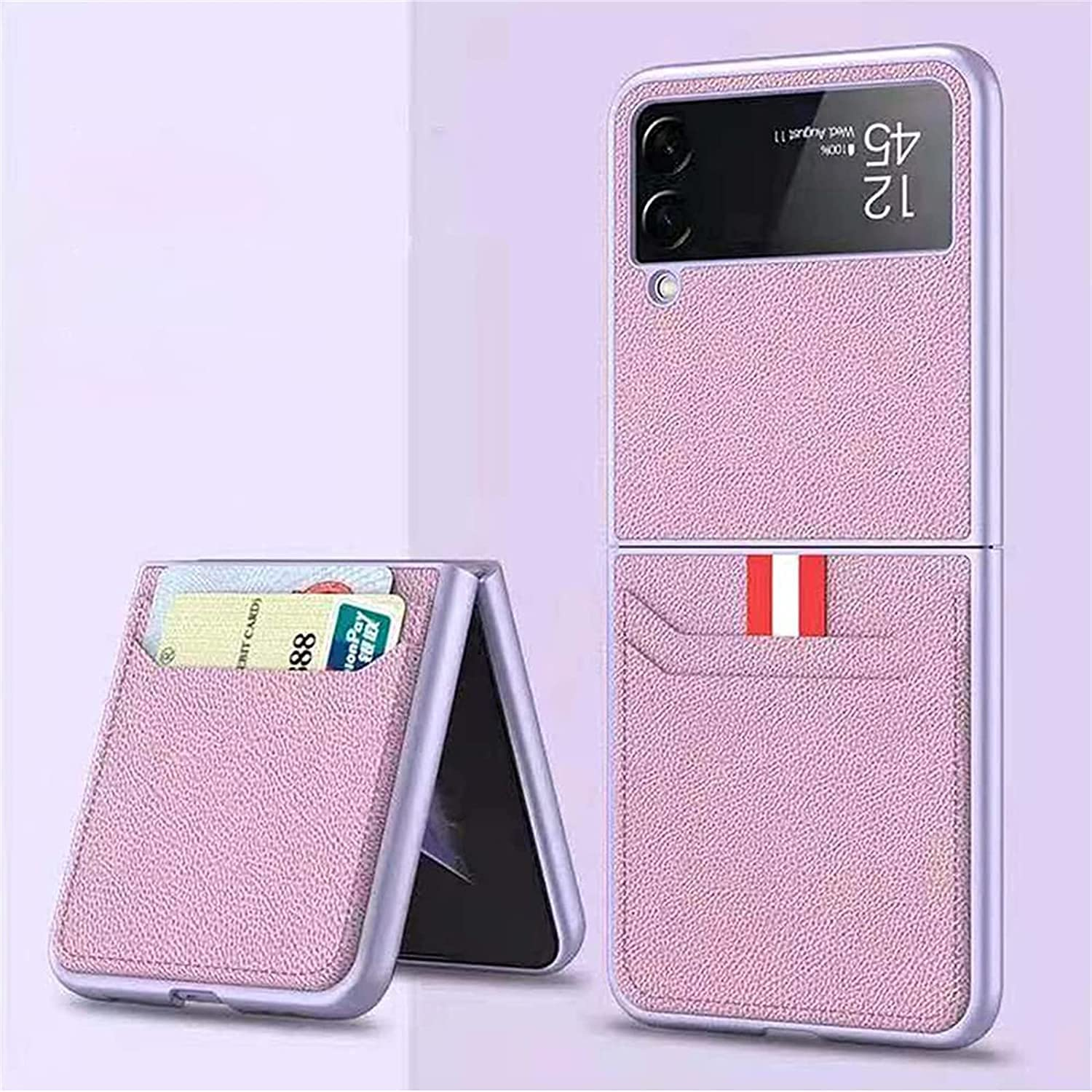 for Samsung Galaxy Z Flip 3 5G Case, Shockproof Leather Lightweight Cover Full Protective Cases with Wallet Card Suitable for Samsung Galaxy Z Flip 3 5G (Pink)