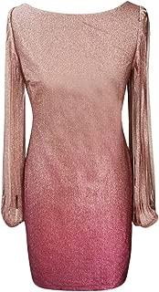 Everymony Summer Ladies Fashion Casual Slim one-Shoulder Backless Solid Color Sleeveless Shiny Mini Dress