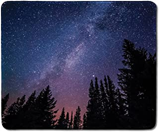 dealzEpic - Art Mousepad - Rubber Mouse Pad Printed with Purple Hued Night Sky with The Milky Way and Stars - Stitched Edges - 9.5x7.9 inches
