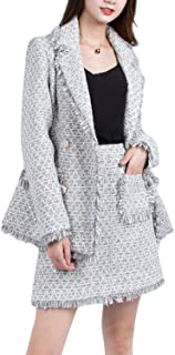 Mfasica Women Bodycon Office Long-Sleeve 2 Piece Shirt Jacket Skirt Suit