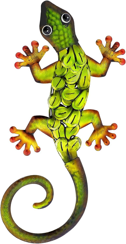 aboxoo Metal Gecko Wall Decor Outdoor Indoor Lizard Art Sculpture Indoor Hanging Wall Art Ornaments Statue Decorations for Yard, Fence, Garden, Home (Green)