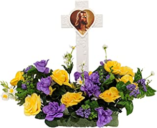 Fire Glo Solar Powered Glow in The Dark Memorial Cross with Flower Bouquette-Graveyard/Cemetary Decorations (Jesus)