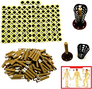 100PCS Moxa Sticks for Stick on Moxibustion, Five Years Pure Moxa Cone 45:1 with Updated Candle Base, Moxa Roll Stick for Chinese Traditional AiJiu Acupoint Body Acupuncture (7mm Diameter 40mm Legnth)