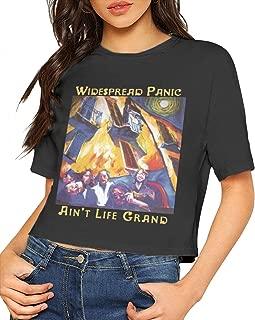Widespread Panic Ain't Life Grand Women Midriff-Baring Navel Crop Tees Black