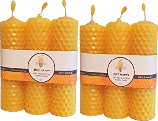 PRATHA Beeswax Candle Hand Rolled Pack of 6, 35 gm X 6, BEE Happy, bee Wax Candle