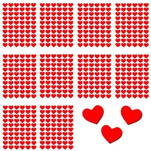 Oblique-Unique® 600 Rote Herzen Sticker Selbstkelbend I Scrapbooking Dekoration Basteln