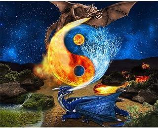 TWYYDP Puzzle per Adulti 1000 Pezzi Yin E Yang Spitfire E Water Spray Dragon Pittura Art Deco Domestica