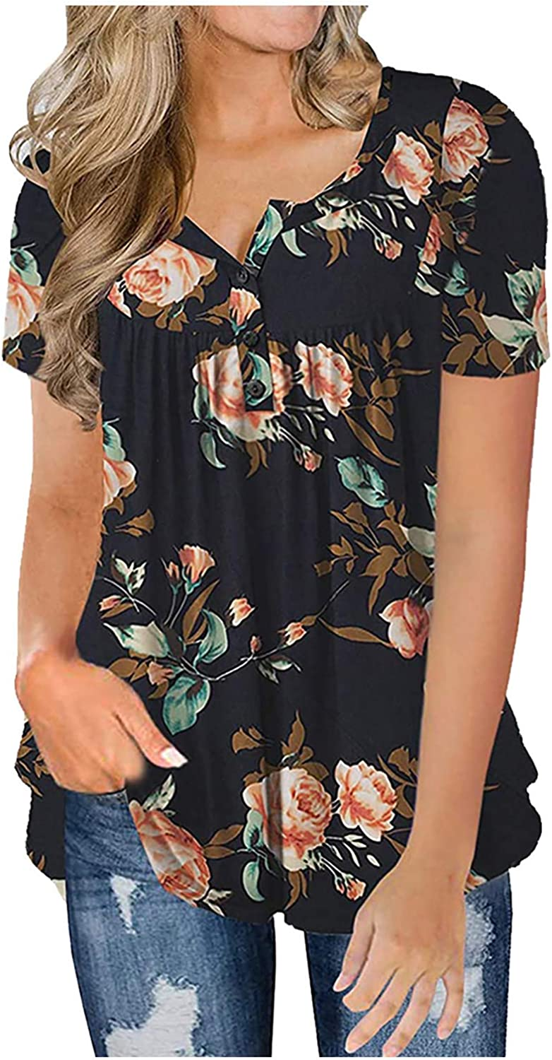 Gemira Floral Tops for Women Short Top At the price Loose Casual Max 73% OFF Tunic Sleeve