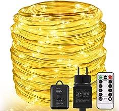 Weihnachtsbeleuchtung LED Lichtschlauch LED Schlauch Lichterkette Au/ßen Outdoor Solar Lichterketten Wasserdicht 10M 100 LED Kupferdraht Lichterkette Ideal F/ür Aussen Feier Deko Hochzeit Party