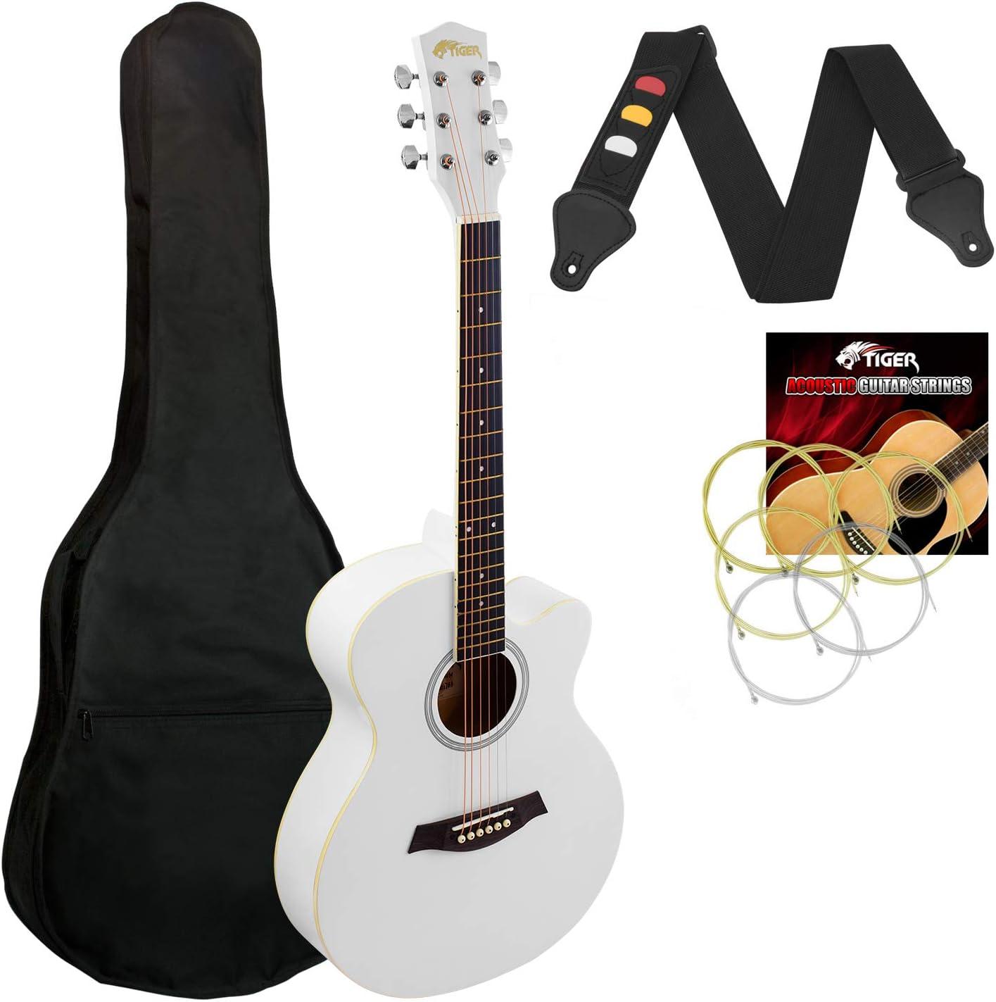 Tiger ACG1-WH Guitarra acústica de cuerpo pequeño con cuerdas de acero para principiantes - Blanco
