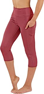 Fit Division Women's Yoga Pants with Deep Side Pockets Dry-Fit Workout Leggings Capri and Full Length