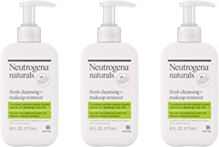 Neutrogena Naturals Fresh Cleansing Daily Face Wash + Makeup Remover with Peruvian Tara Seed, Hypoallergenic, Non-Comedogenic and Sulfate-, Paraben- and Phthalate-Free, 3 x 6 fl. oz