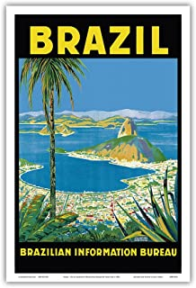 Brazil - Rio de Janeiro - Brazilian Information Bureau - Vintage World Travel Poster by Waldomiro Gonçalves Christino c.1950s - Master Art Print - 12in x 18in