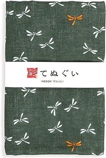彩(irodori) ガーゼ手ぬぐい トンボ グリーン 緑 日本製 てぬぐい 二重袷 二重ガーゼ ほつれ防止加工 約33×88cm