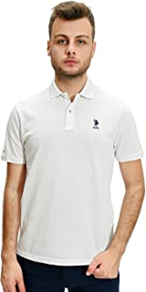 U.S. Polo Assn. Embroidered Logo Short Sleeves Solid Polo Shirt For Men - White, XL