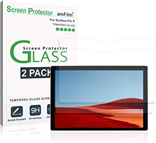 amFilm Surface Pro X Screen Protector Glass (2 Pack) - Case Friendly (Easy Install) Tempered Glass Screen Protector Film for Microsoft Surface Pro X (2019)