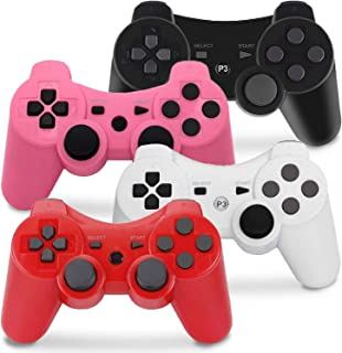 PS3 Controller Wireless, Gaming Remote Joystick for Playstation 3 with Charger Cable Cord (Pack of 4, Black, Pink, White, ...