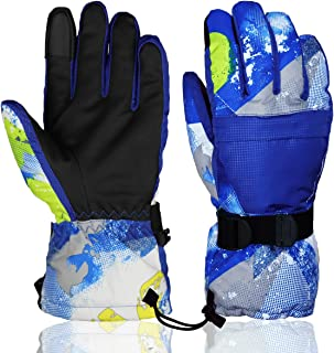 YR.Lover Winter Warm Waterproof Ski Gloves Touchscreen Snow Gloves Boys Girls Men Women