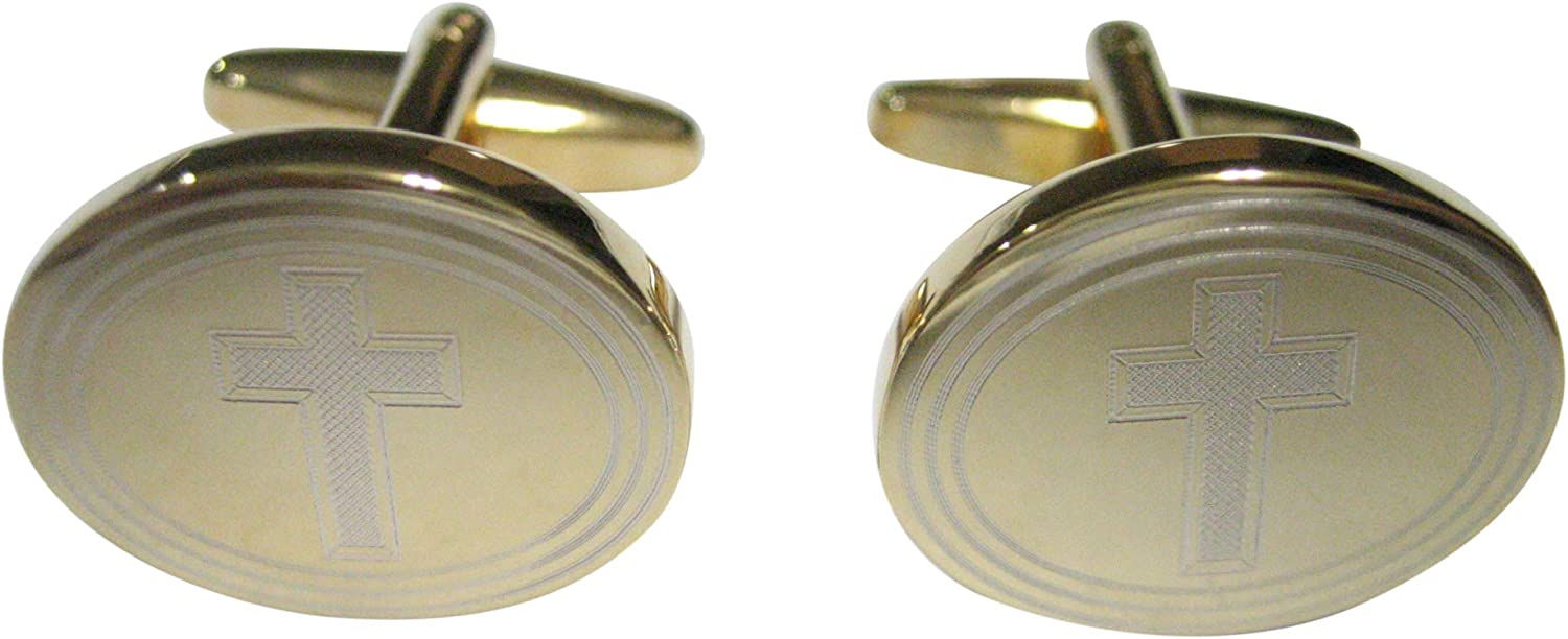 Kiola Designs Gold Toned Etched Oval Religious Cross Cufflinks