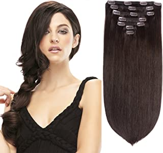 "15"" Remy Human Hair Clip in Extensions for Women Dark Brown(#2) 7 Pieces 120grams/4.23oz"