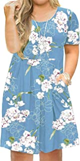 AUSELILY Women's Plus Size Round Neck Short Sleeve Pleated Loose Swing Casual Dress with Pockets Knee Length