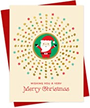 product image for Night Owl Paper Goods Santa Stamped Holiday Card, Box of 8, Gold Foil