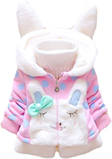 Baby Girl Jacket Thick Winter Hoodie Rabbit Bunny Coat Toddler Outerwear