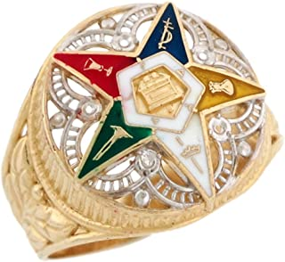 Jewelry Liquidation 10k Two-Tone Gold Eastern Star Enamel Filigree Stylish Ladies Ring
