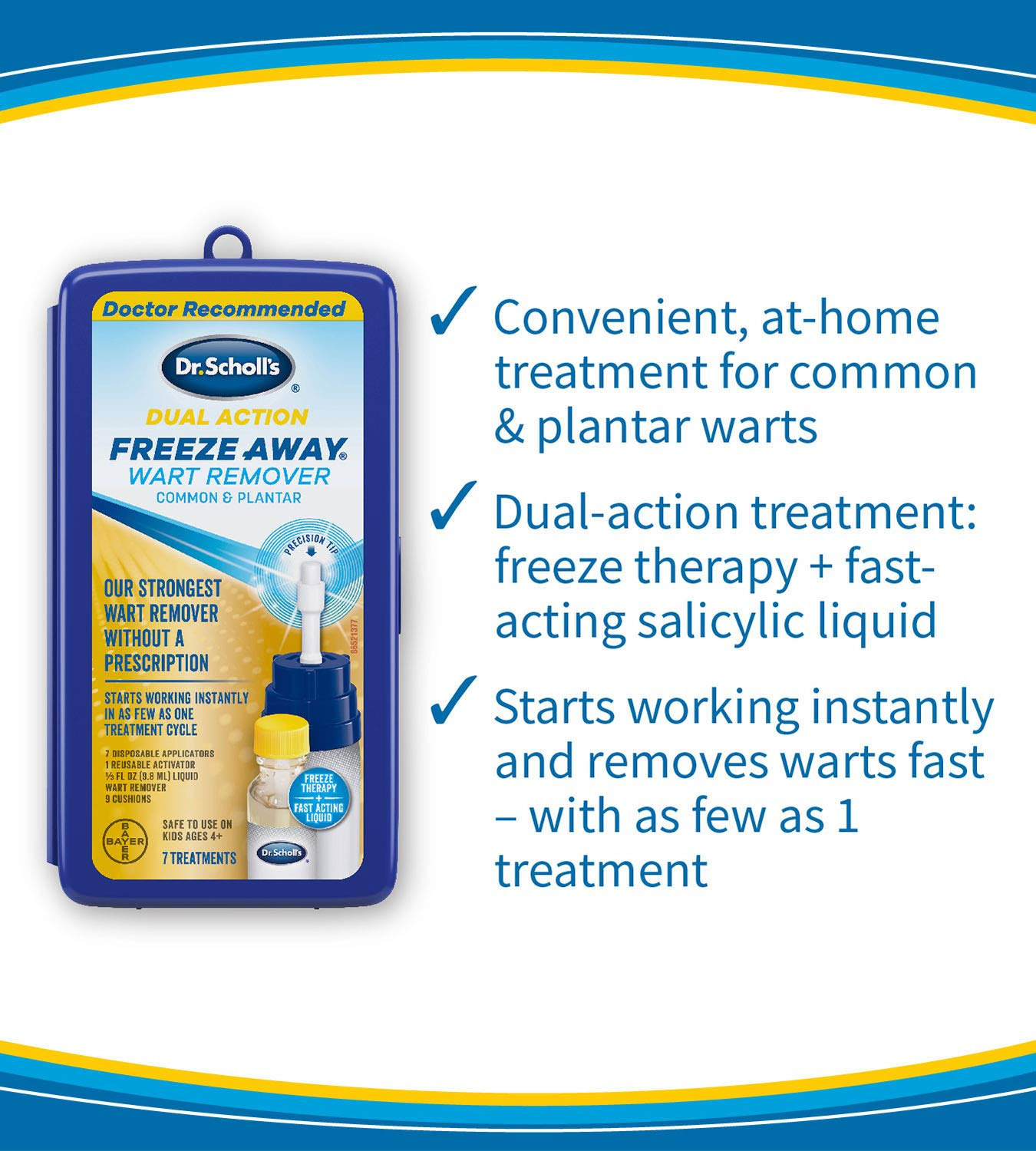 Dr. Scholl's FreezeAway Wart Remover Dual Action, 7 Applications / Freeze Therapy + Powerful Fast Acting Salicylic Liquid to Remove Common and Plantar Warts