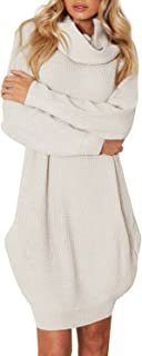 Women's Loose Turtleneck Knit Long Pullover Sweater Dress