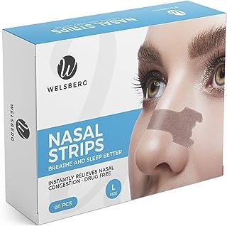 Welsberg 60x tiras nasales contra los ronquidos tiritas nasales antirronquidos, talla L