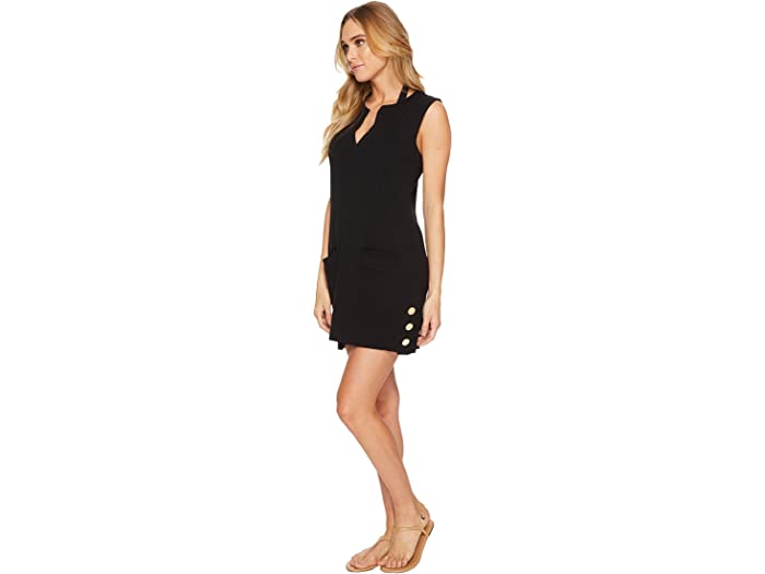 Lauren Ralph Button Tunic Cover-up Black Swimwear