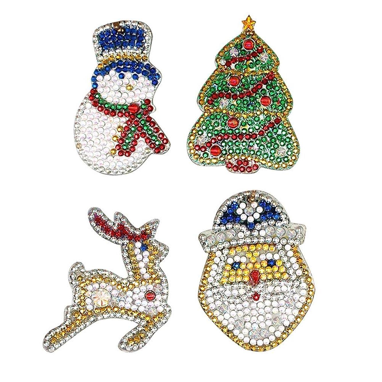 動的日帰り旅行に省略DIYフルドリル特殊形状のクリスマスダイヤモンド塗装キーホルダー4本