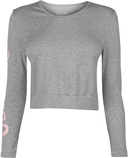 USA Pro Long Sleeve Cropped T-Shirt Womens Grey Top Tee Shirt Athleisure