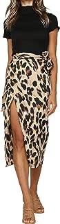 Women's Leopard Knotted High Waist Wrap Split Skirt
