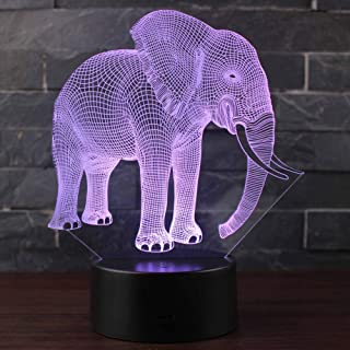 3D Lamp Elephant Night Light LED Desk Light with 7 Color Change, Multicolored USB Power for Living Bed Room Best Gift for Children Toy