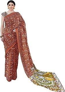 ساري مومول قطني للنساء من آيكات بني مطبوع عليه كتلة اليد جايبيوري مع بلوزة قطعة
