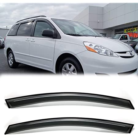 4 Pieces Side Window Deflectors Ineedup Window Visors Fits for 2004-2009 Toyota Sienna Tape-on Rain Guards 2pcs for Front Doors and 2pcs for Rear Doors
