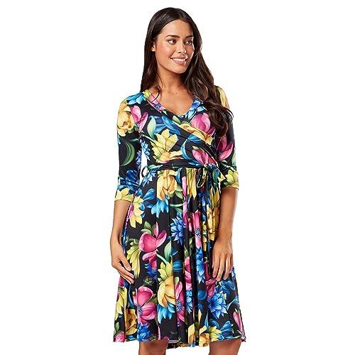7b30b56ccb HAPPY MAMA. Women s Maternity Nursing Midi Dress Double Layer 3 4 Sleeve  609p