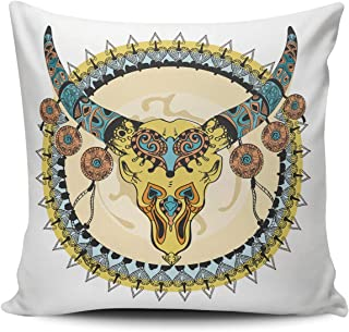 BERLK Throw Pillow Covers Square Art Tribal Indian Cattle Skull 16x16 Inch Decorative Pillowcase Cushion Case Double Sided Design Printed