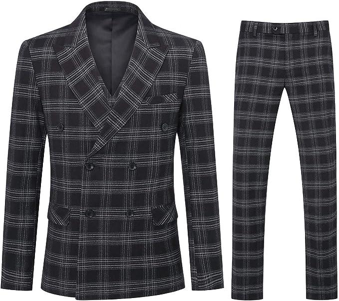 Men's Vintage Clothing | Retro Clothing for Men YFFUSHI Mens Plaid 3 Piece Suits Double Breasted Retro Slim Dress  AT vintagedancer.com