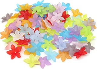 Honbay 100PCS 29mm Assorted Color Acrylic Beads Frosted Lily Flower Beads
