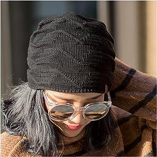 عارضة كل مباراة قبعة قبعة السيدات الشتاء متماسكة قبعة زائد المخمل السميك قبعة الصوف الدافئة كهدية لها (Color : Black)