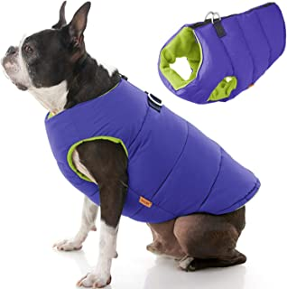 Gooby - Padded Vest Solid, Dog Jacket Coat Sweater with Zipper Closure & Leash Ring, Solid Purple, Medium