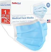 RadkoMed 3Ply Face Masks Made in USA - Box of 50 - Disposable Facemask - Facial and Mouth Covering - Protection to Filter ...