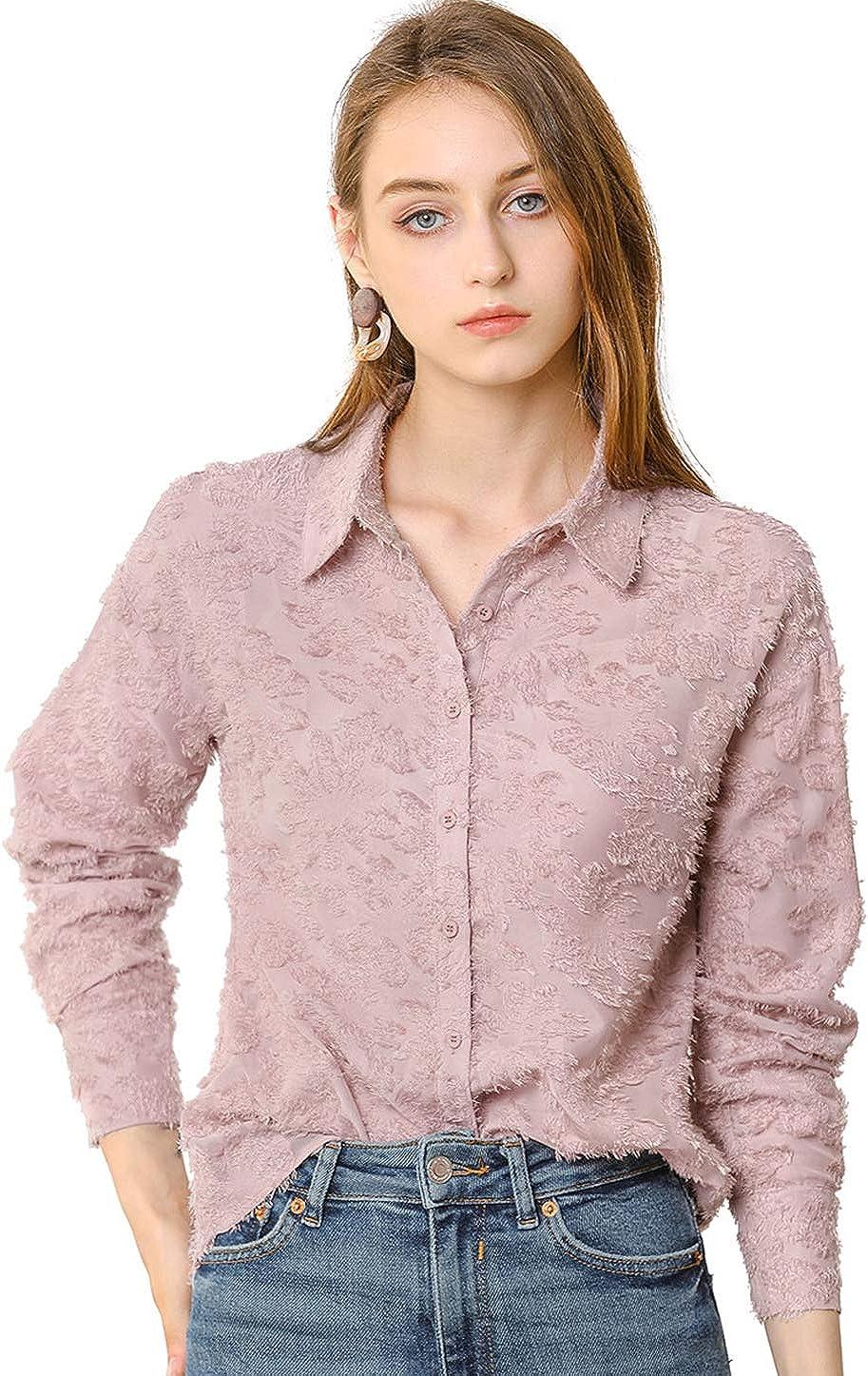 Allegra K Women's Floral Textured Blouse Point Collar Button Down Shirt